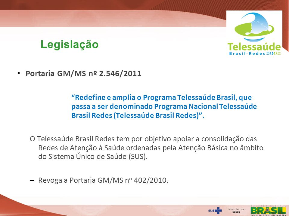 Legislação Portaria GM/MS nº 2.546/2011