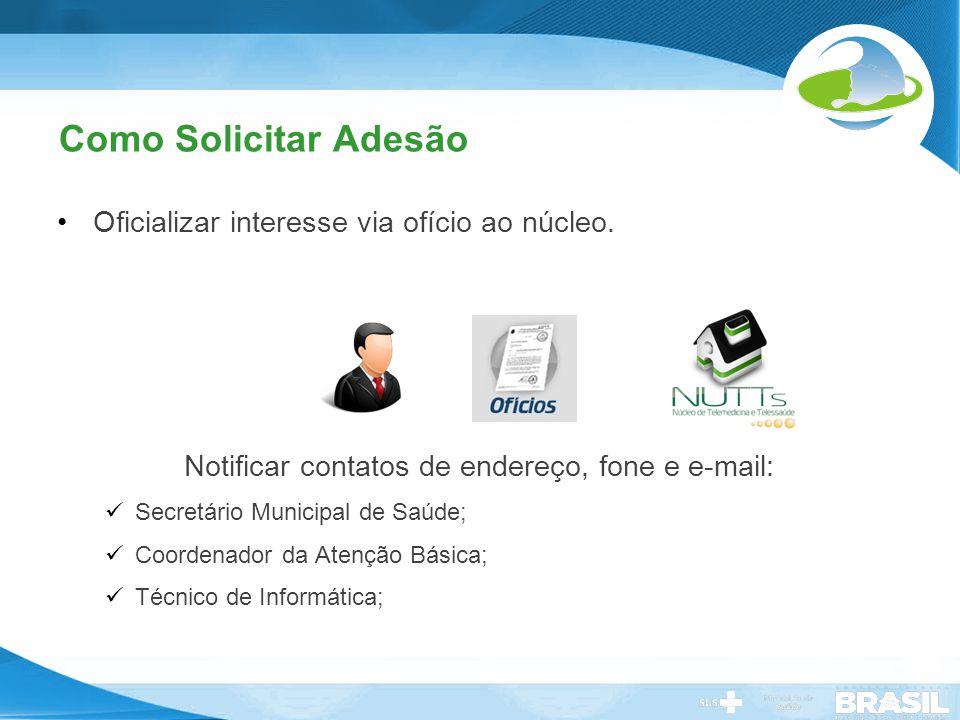 Notificar contatos de endereço, fone e e-mail: