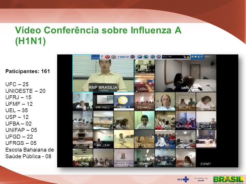 Vídeo Conferência sobre Influenza A (H1N1)