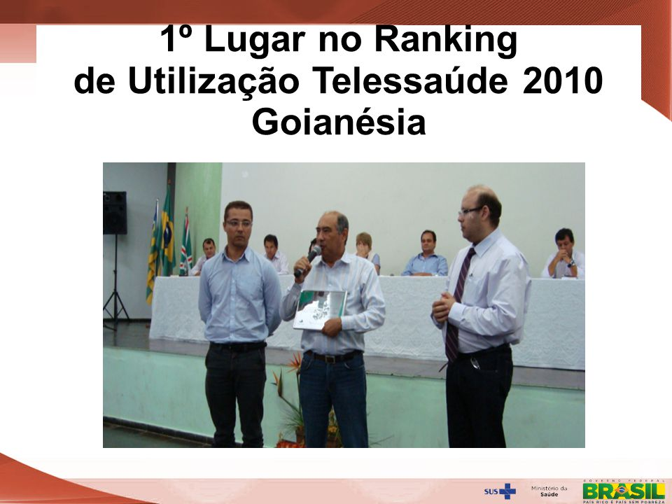 1º Lugar no Ranking de Utilização Telessaúde 2010 Goianésia
