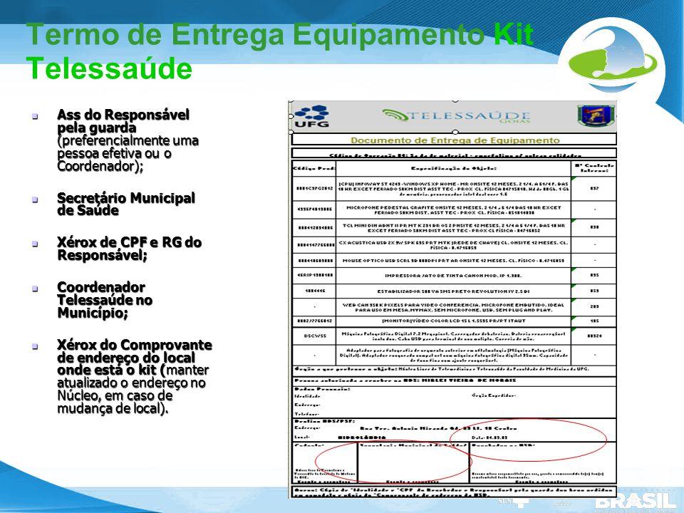 Termo de Entrega Equipamento Kit Telessaúde