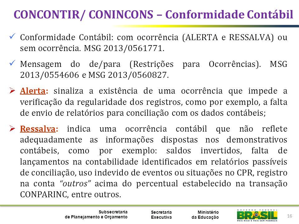 CONCONTIR/ CONINCONS – Conformidade Contábil