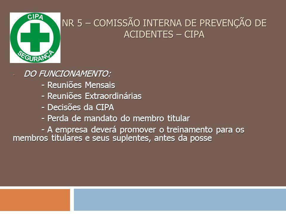 NR 5 – COMISSÃO INTERNA DE PREVENÇÃO DE ACIDENTES – CIPA
