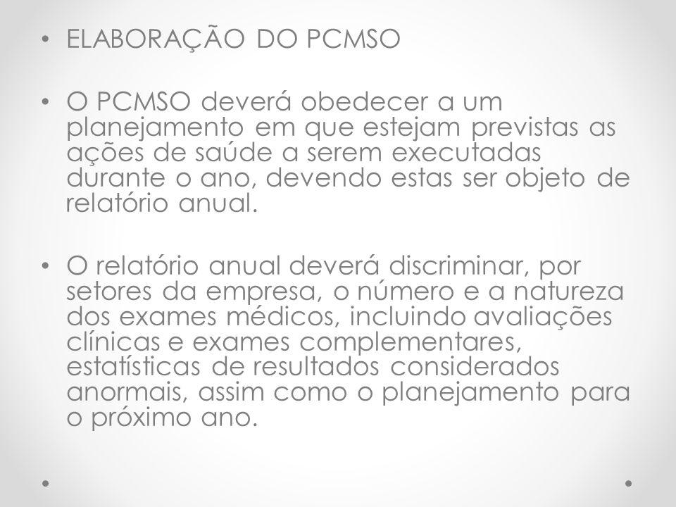 ELABORAÇÃO DO PCMSO