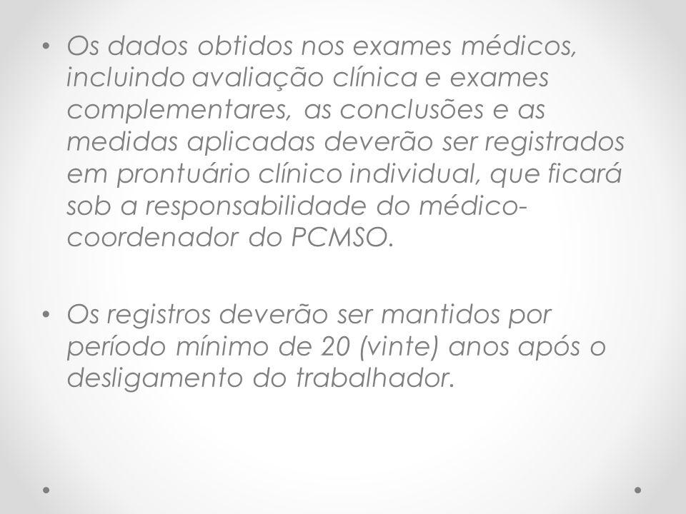 Os dados obtidos nos exames médicos, incluindo avaliação clínica e exames complementares, as conclusões e as medidas aplicadas deverão ser registrados em prontuário clínico individual, que ficará sob a responsabilidade do médico-coordenador do PCMSO.