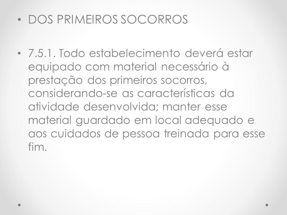 DOS PRIMEIROS SOCORROS
