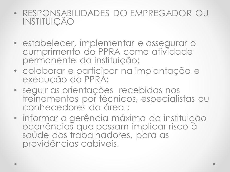 RESPONSABILIDADES DO EMPREGADOR OU INSTITUIÇÃO