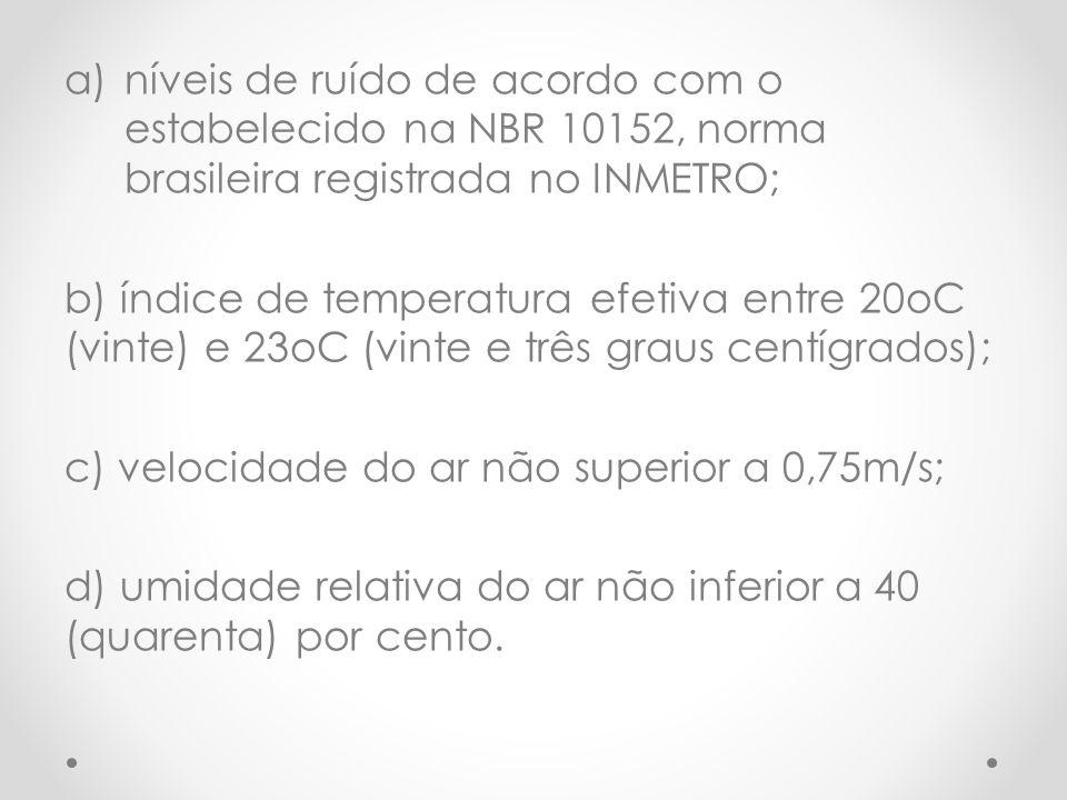 níveis de ruído de acordo com o estabelecido na NBR 10152, norma brasileira registrada no INMETRO;