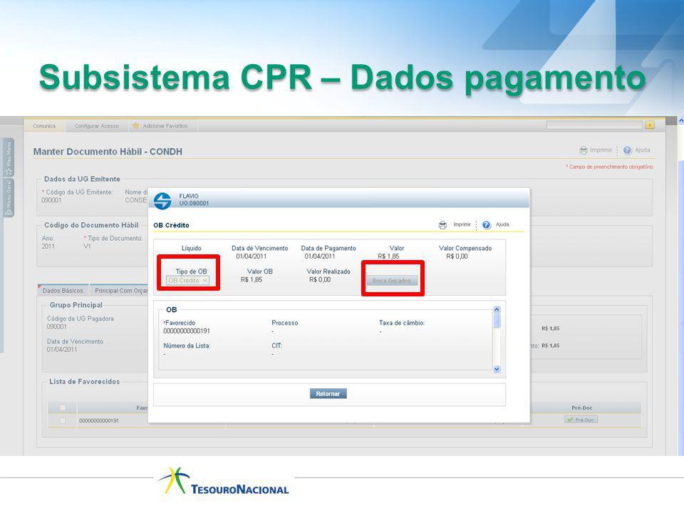 Subsistema CPR – Dados pagamento