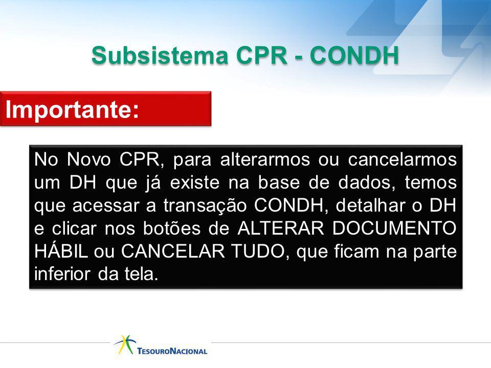 Subsistema CPR - CONDH Importante: