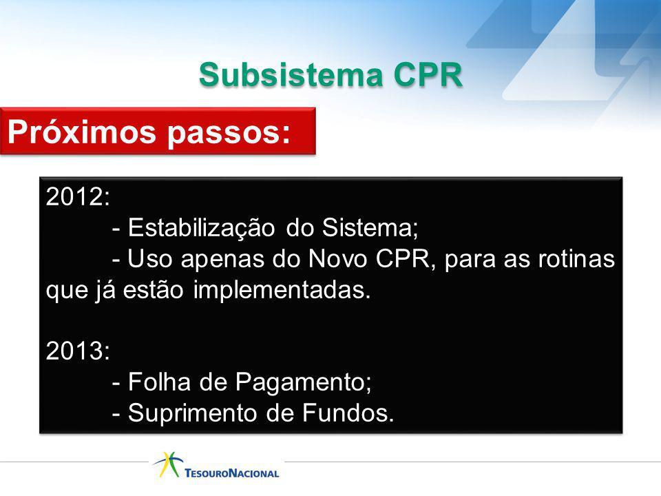 Subsistema CPR Próximos passos: 2012: - Estabilização do Sistema;