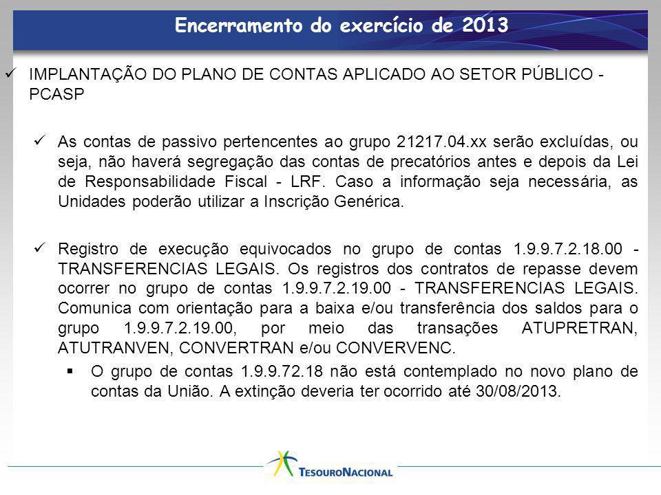 Encerramento do exercício de 2013