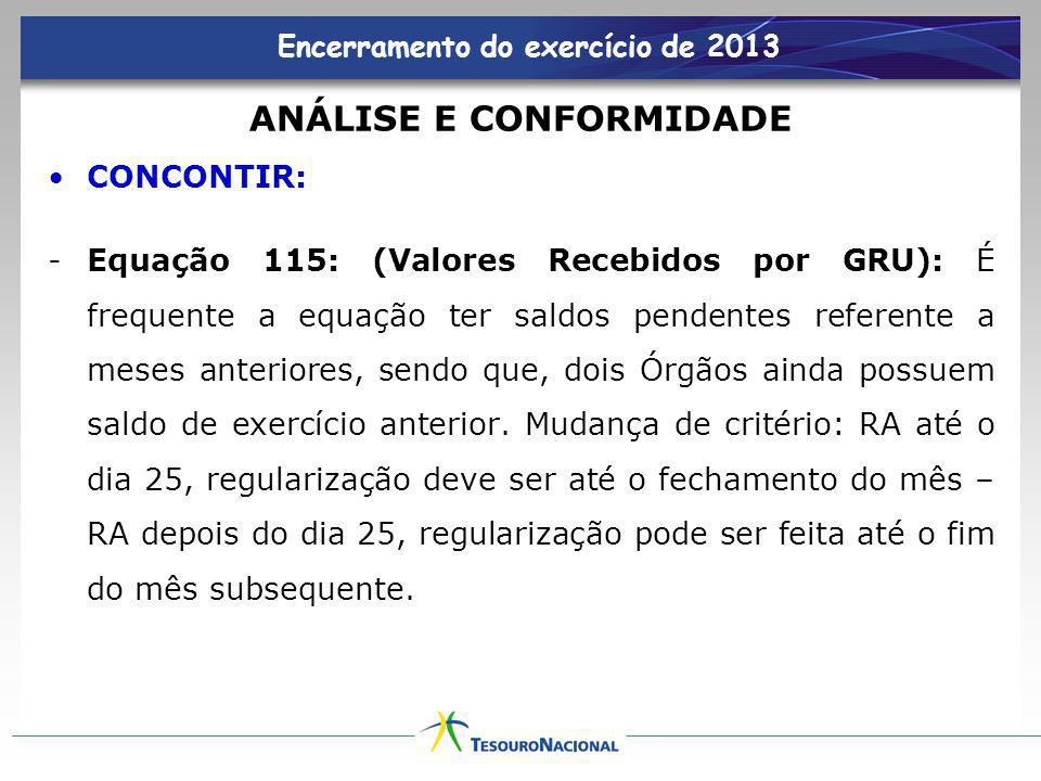 Encerramento do exercício de 2013 ANÁLISE E CONFORMIDADE