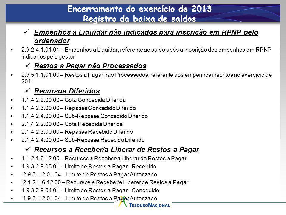Encerramento do exercício de 2013 Registro da baixa de saldos