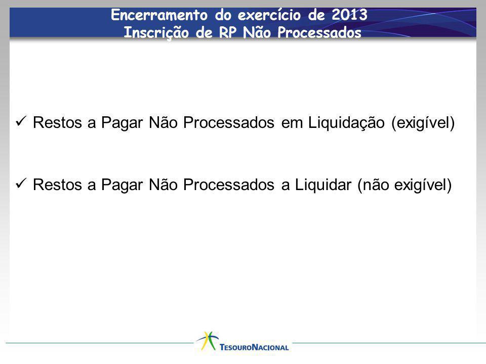 Encerramento do exercício de 2013 Inscrição de RP Não Processados
