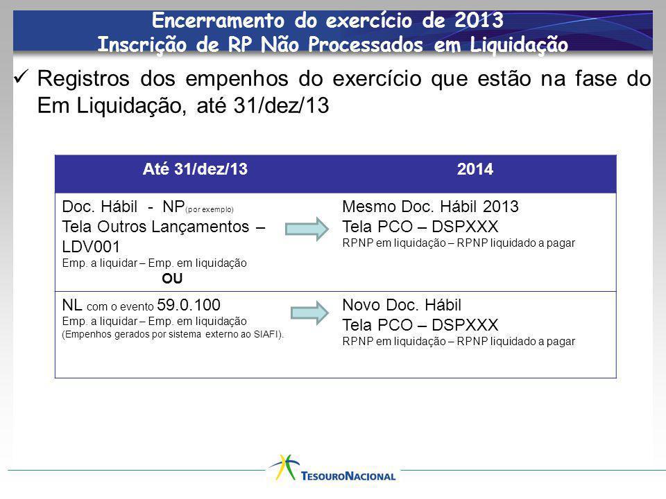 Encerramento do exercício de 2013 Inscrição de RP Não Processados em Liquidação
