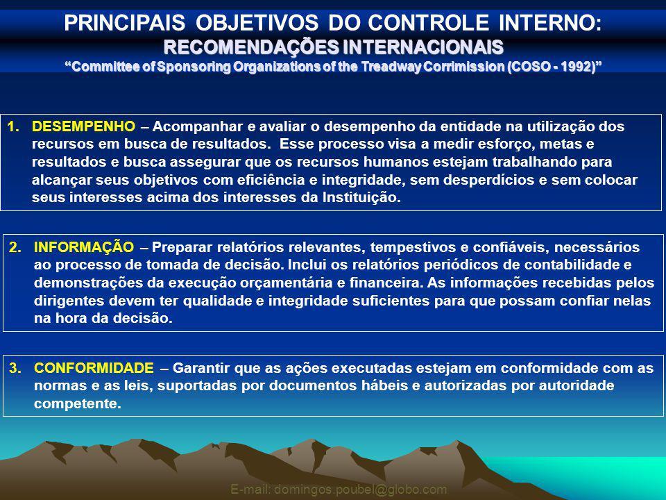 PRINCIPAIS OBJETIVOS DO CONTROLE INTERNO: RECOMENDAÇÕES INTERNACIONAIS