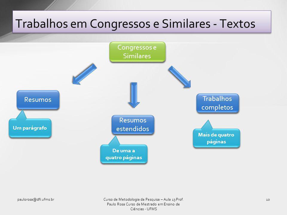 Trabalhos em Congressos e Similares - Textos