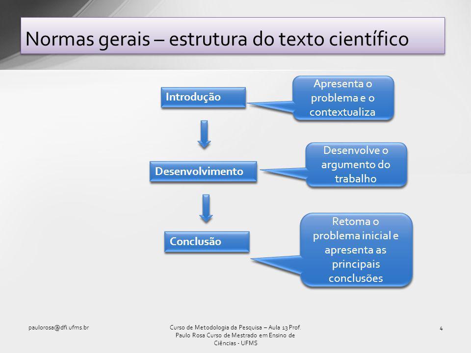 Normas gerais – estrutura do texto científico