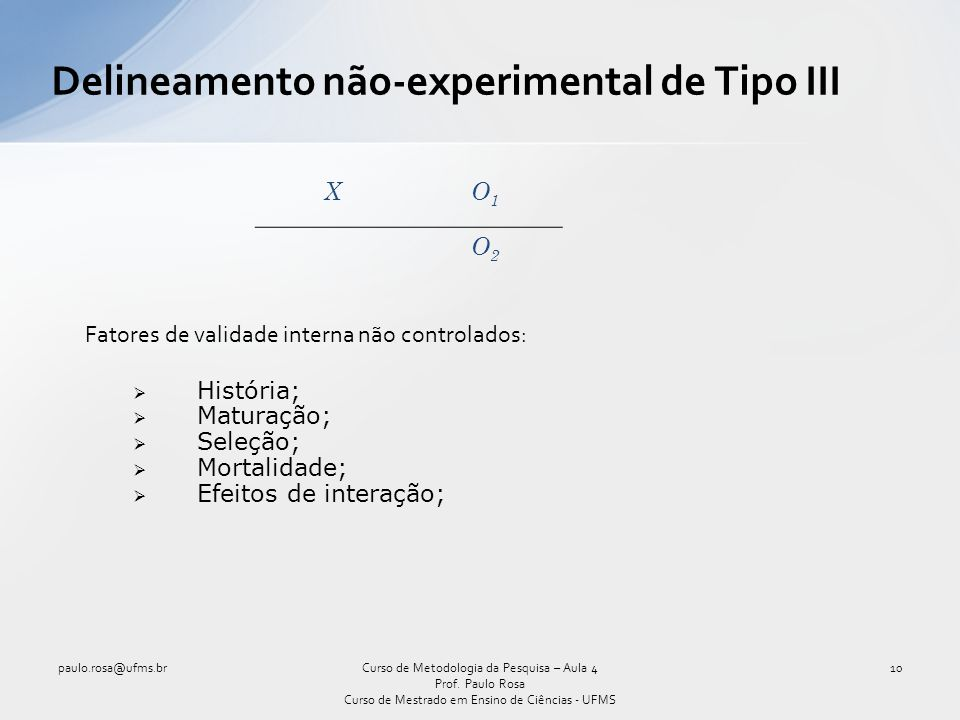Delineamento não-experimental de Tipo III
