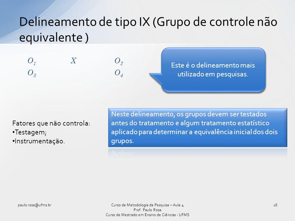 Delineamento de tipo IX (Grupo de controle não equivalente )