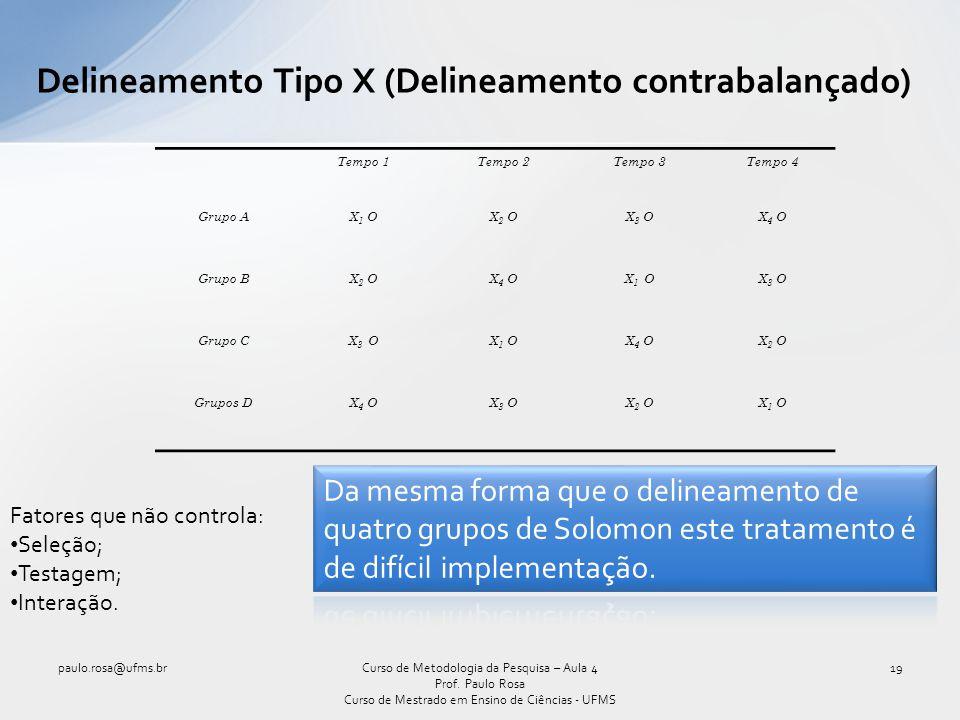 Delineamento Tipo X (Delineamento contrabalançado)
