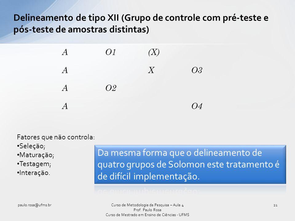 Delineamento de tipo XII (Grupo de controle com pré-teste e pós-teste de amostras distintas)