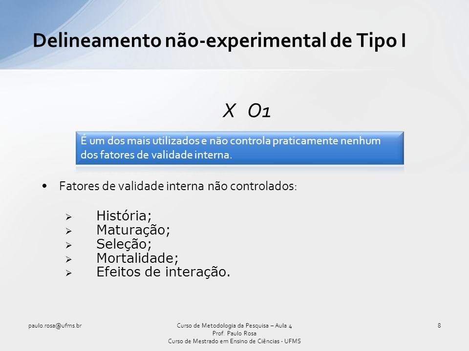 Delineamento não-experimental de Tipo I