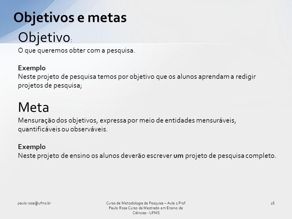 Objetivos e metas Objetivo: Meta O que queremos obter com a pesquisa.