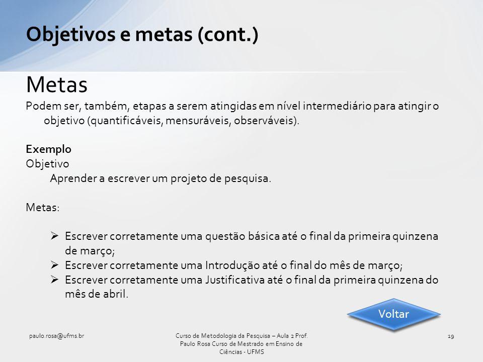 Objetivos e metas (cont.)