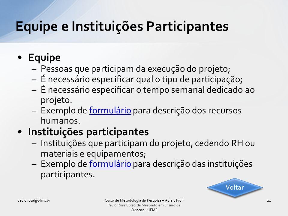 Equipe e Instituições Participantes
