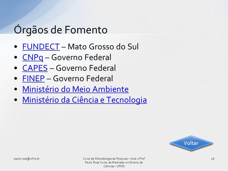 Órgãos de Fomento FUNDECT – Mato Grosso do Sul CNPq – Governo Federal