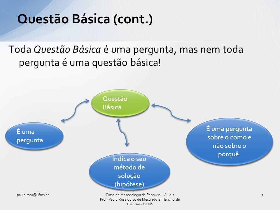 Questão Básica (cont.) Toda Questão Básica é uma pergunta, mas nem toda pergunta é uma questão básica!