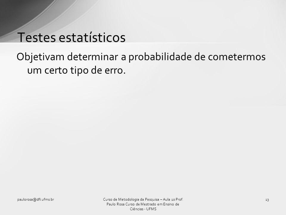 Testes estatísticos Objetivam determinar a probabilidade de cometermos um certo tipo de erro. paulorosa@dfi.ufms.br.