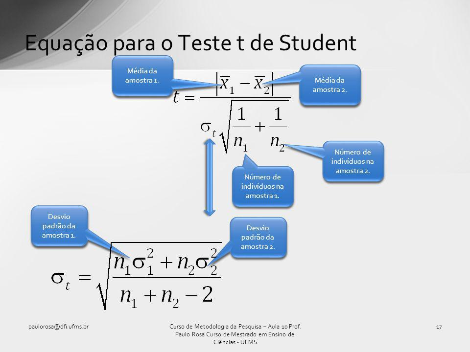 Equação para o Teste t de Student