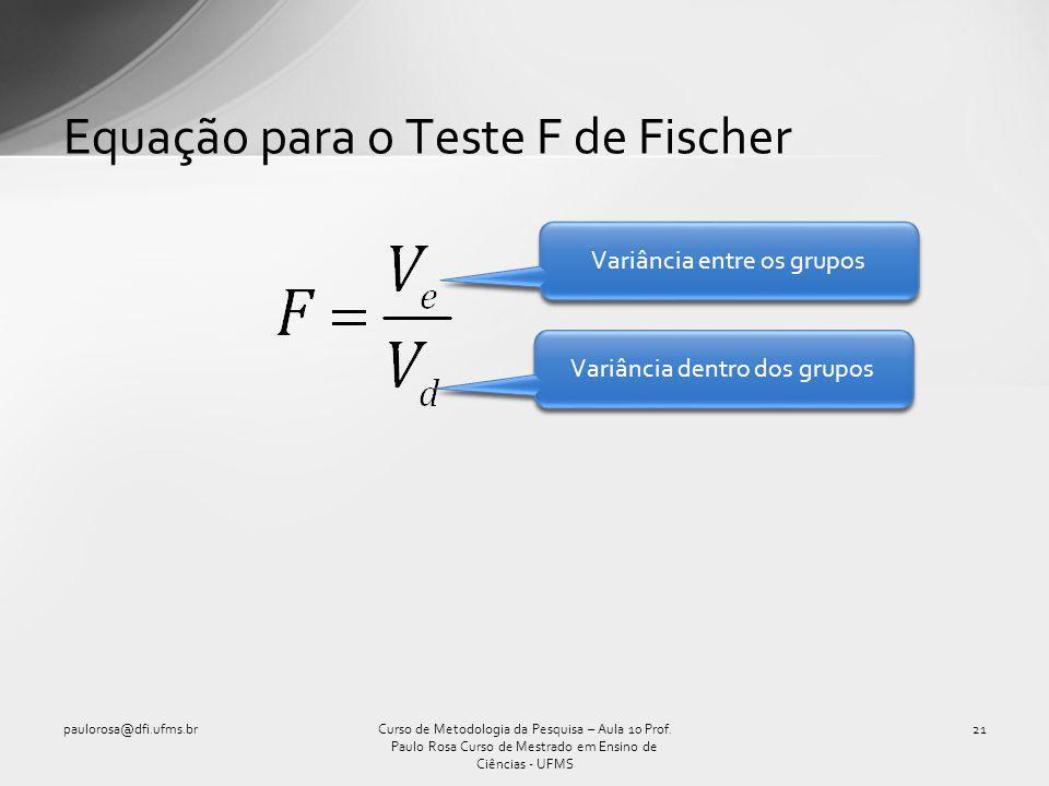 Equação para o Teste F de Fischer