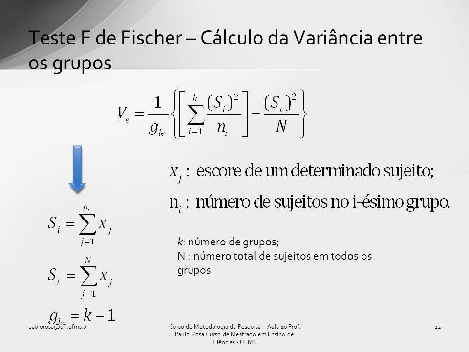 Teste F de Fischer – Cálculo da Variância entre os grupos
