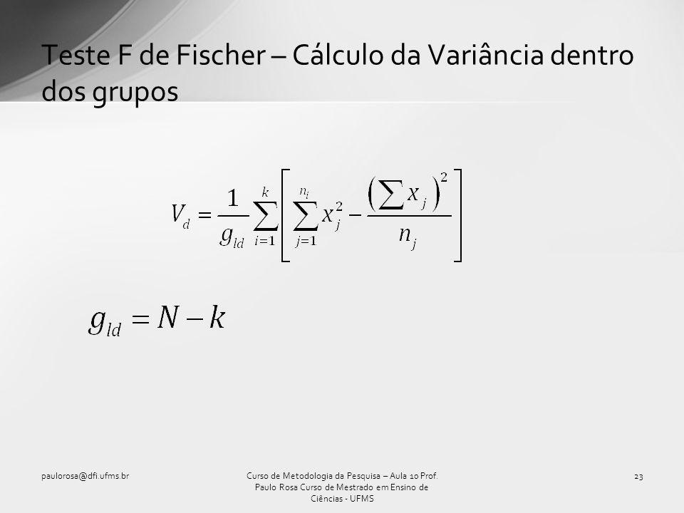 Teste F de Fischer – Cálculo da Variância dentro dos grupos