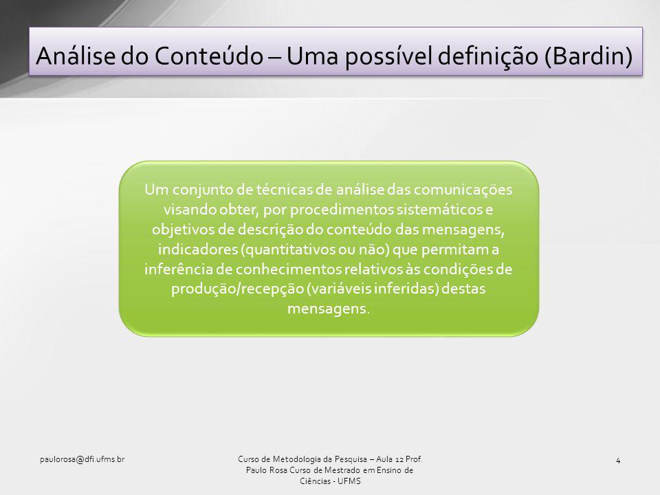 Análise do Conteúdo – Uma possível definição (Bardin)