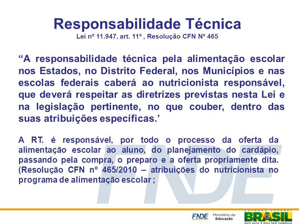Responsabilidade Técnica Lei nº 11. 947, art