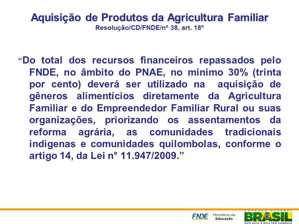 Aquisição de Produtos da Agricultura Familiar Resolução/CD/FNDE/nº 38, art. 18º
