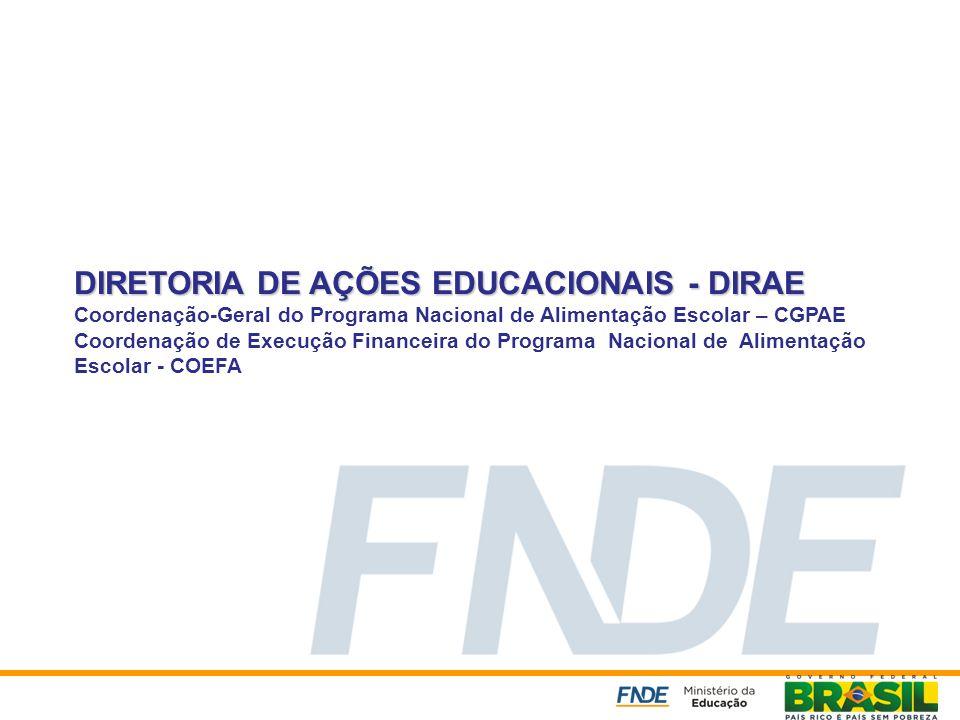 DIRETORIA DE AÇÕES EDUCACIONAIS - DIRAE Coordenação-Geral do Programa Nacional de Alimentação Escolar – CGPAE