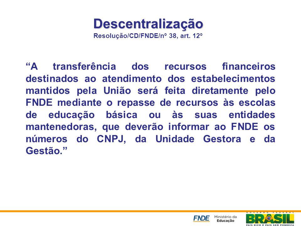 Descentralização Resolução/CD/FNDE/nº 38, art. 12º