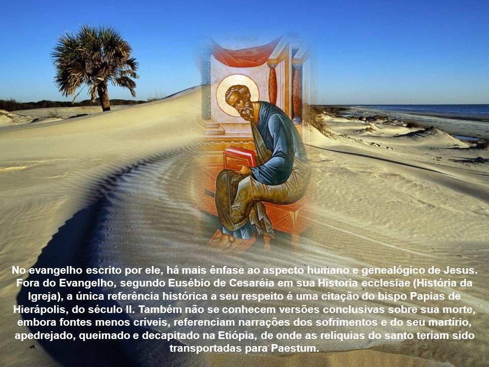 No evangelho escrito por ele, há mais ênfase ao aspecto humano e genealógico de Jesus.
