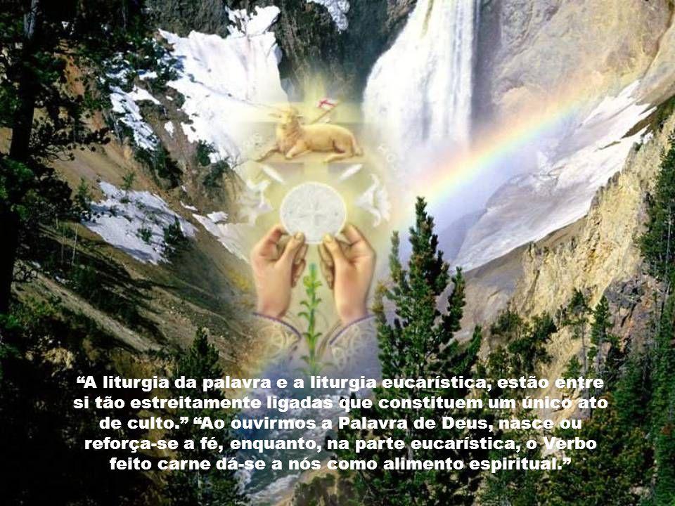 A liturgia da palavra e a liturgia eucarística, estão entre si tão estreitamente ligadas que constituem um único ato de culto. Ao ouvirmos a Palavra de Deus, nasce ou reforça-se a fé, enquanto, na parte eucarística, o Verbo feito carne dá-se a nós como alimento espiritual.