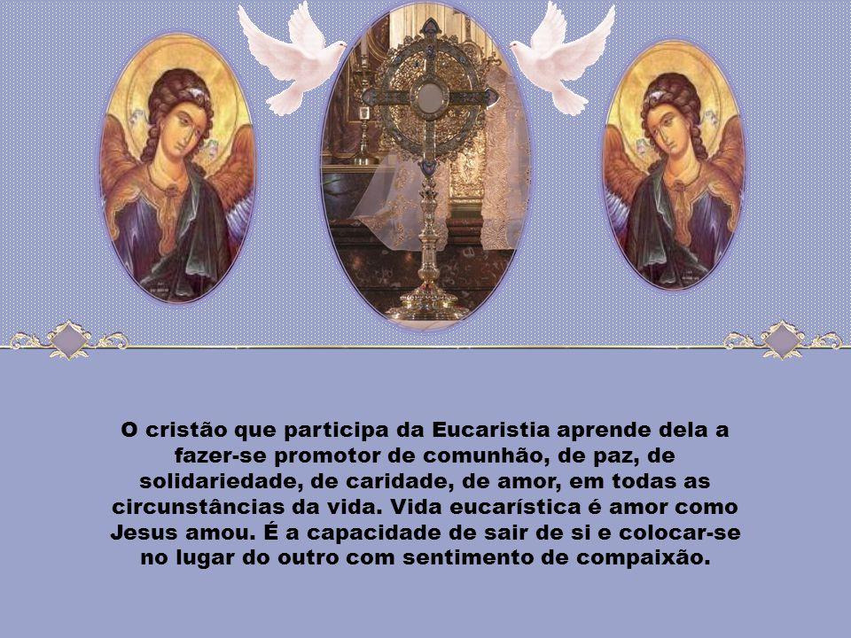 O cristão que participa da Eucaristia aprende dela a fazer-se promotor de comunhão, de paz, de solidariedade, de caridade, de amor, em todas as circunstâncias da vida.