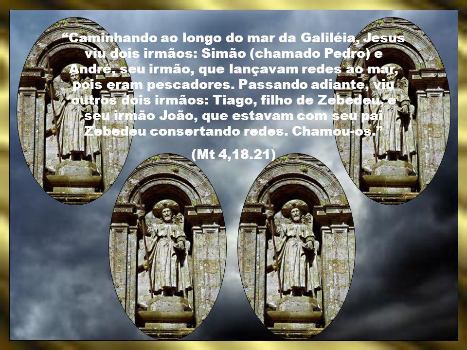 Caminhando ao longo do mar da Galiléia, Jesus viu dois irmãos: Simão (chamado Pedro) e André, seu irmão, que lançavam redes ao mar, pois eram pescadores. Passando adiante, viu outros dois irmãos: Tiago, filho de Zebedeu, e seu irmão João, que estavam com seu pai Zebedeu consertando redes. Chamou-os.