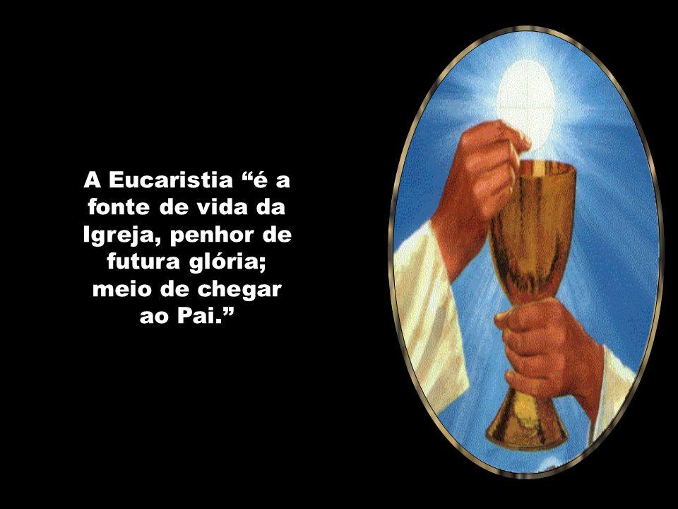A Eucaristia é a fonte de vida da Igreja, penhor de futura glória; meio de chegar ao Pai.