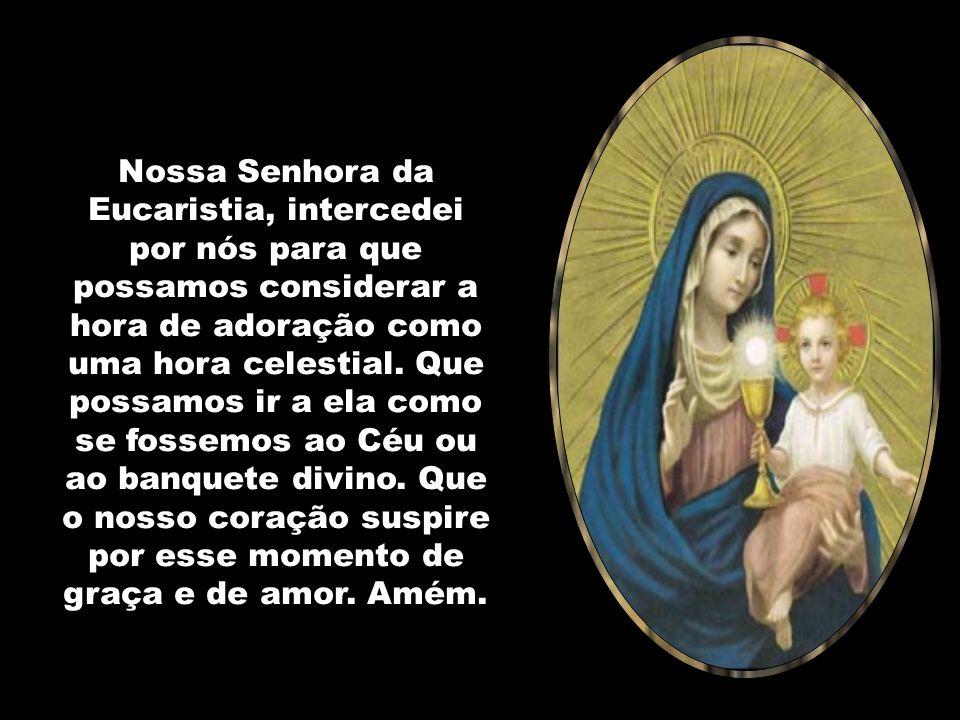 Nossa Senhora da Eucaristia, intercedei por nós para que possamos considerar a hora de adoração como uma hora celestial.