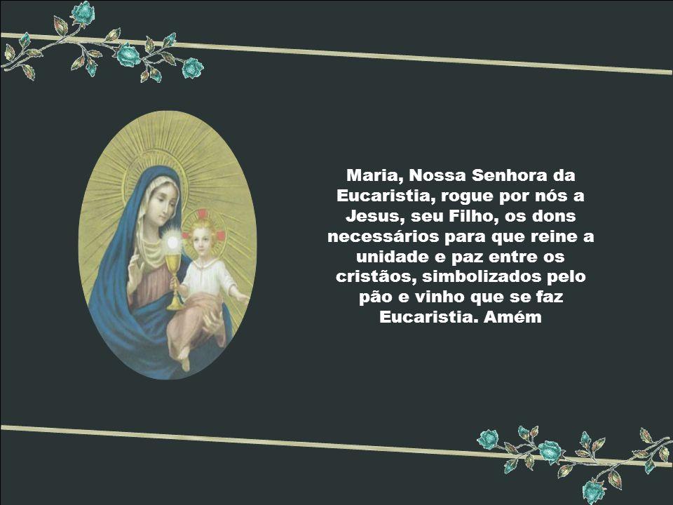 Maria, Nossa Senhora da Eucaristia, rogue por nós a Jesus, seu Filho, os dons necessários para que reine a unidade e paz entre os cristãos, simbolizados pelo pão e vinho que se faz Eucaristia.
